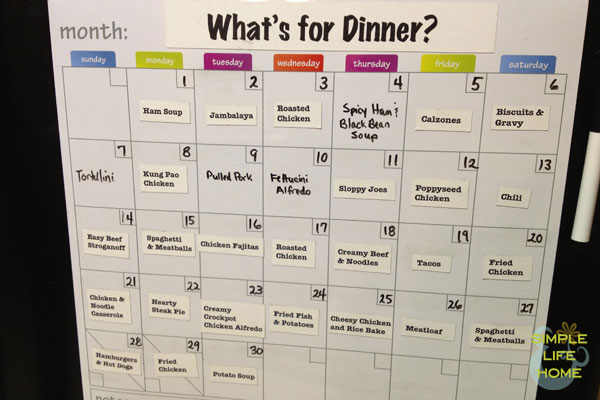 April Menu Plan
