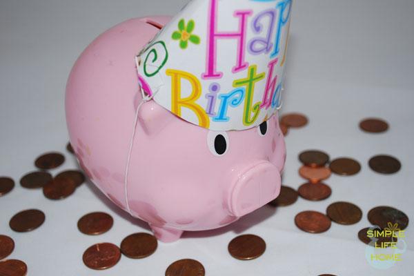 Birthday piggy bank