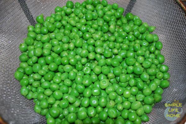 draining peas