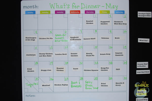 Monthly Menu Plan - May