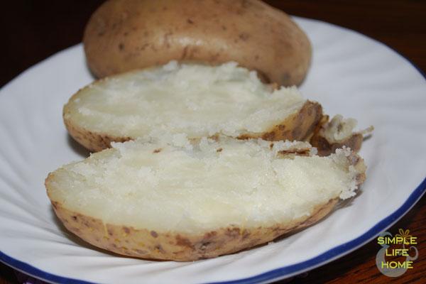baked potato cut in half