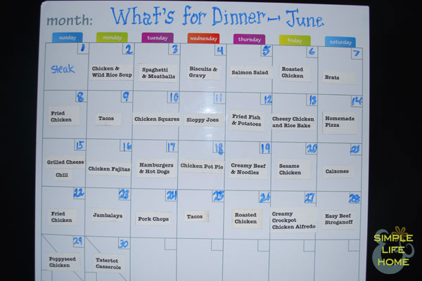 Monthly Menu Plan - June