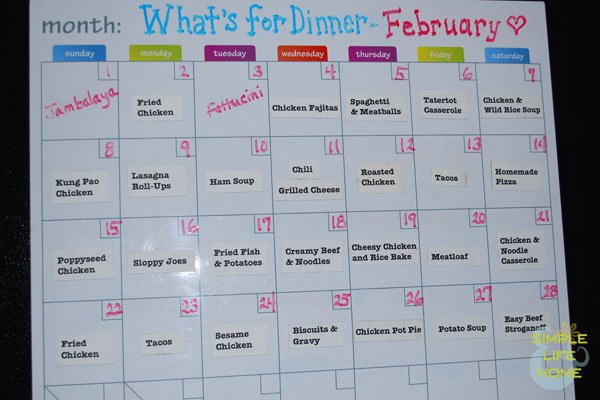 February Menu Plan
